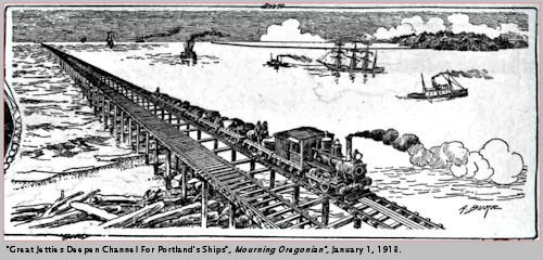 Image, 1913, Columbia River Jetty construction, click to enlarge