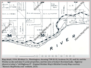 Historical, 1913 Klickitat County Map, Straight Point and Rowland Lake, Washington, click to enlarge