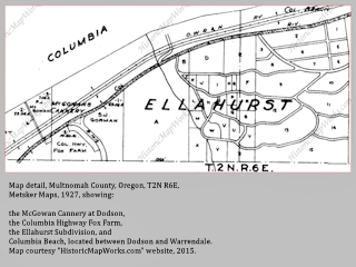 Map detail, Multnomah County, Dodson to Warrendale, Metsker 1927, click to enlarge