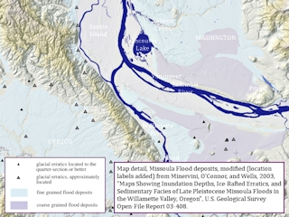 Map detail, Missoula Flood deposits, Vancouver, Portland, click to enlarge