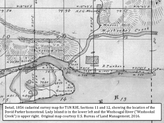 1856, Cadastral Survey detail, Lady Island and Washougal, click to enlarge