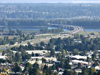 Image, 2004, Interstate 205 and Government Island, from Rocky Butte, click to enlarge