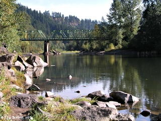 Image, 2003, Sandy River looking upstream from Lewis and Clark State Park, click to enlarge