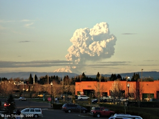 Image, 2005, Mount St. Helens eruption plume, click to enlarge