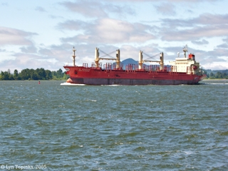 Image, 2005, Welch Island and Cargo Ship, click to enlarge