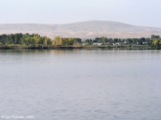 Image, 2003, Kennewick and Horse Heaven Hills from Sacajawea State Park, click to enlarge