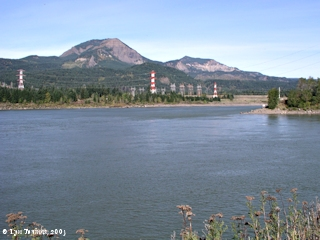 Image, 2003, Table Mountain and Greenleaf Peak, Washington, from Bonneville Dam, Oregon, click to enlarge