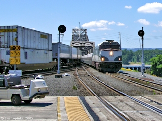 Image, 2005, Amtrak arriving at Vancouver Station, click to enlarge