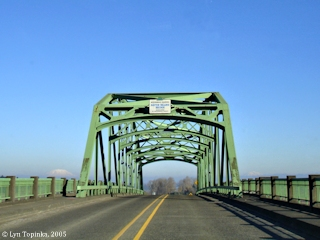 Image, 2005, Sauvie Island Bridge with Mount St. Helens and Mount Adams, click to enlarge