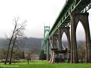 Image, 2006, Cathedral Park and the St. Johns Bridge, click to enlarge