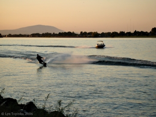 Image, 2006, Sunset, water skiing, from Columbia Park, click to enlarge