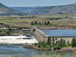 Image, 2011, The Dalles Dam, from the Oregon side, click to enlarge