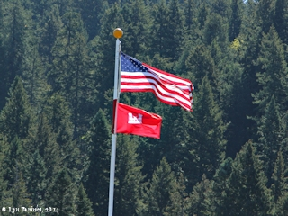 Image, 2014, Flags, Bonneville Dam, on the Columbia River, click to enlarge